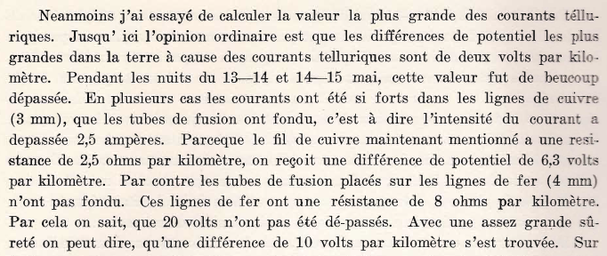 Stenquist 1925, Étude des Courants Telluriques, page 54